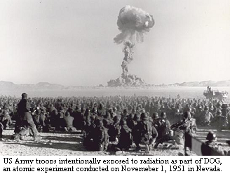 Area 7, Yucca Flat, NTS, Nevada, Airborne units and support troops are intentionally exposed to radiation from nuclear experiment DOG on November 1, 1951