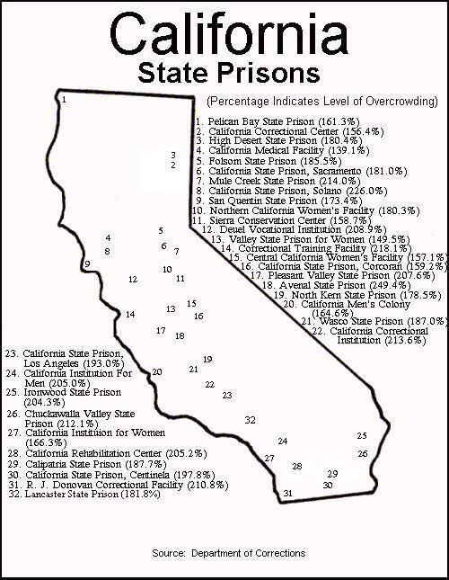 MAP OF CALIFORNIA STATE PRISON SYSTEM WITH STATISTICS FROM DEPARTMENT OF CORRECTIONS CONCERNING OVERCROWDING