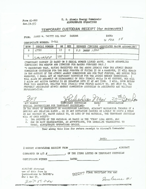 Colonel Howard Richardson's Receipt for the Savannah Nuke